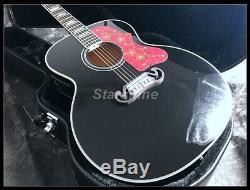 2019 New 43 Jumbo J200 Black Electric Acoustic Guitar Laminated Body
