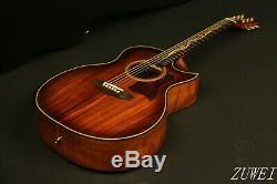 40in Zuwei Handmade Acoustic Guitar D Style Koa Top&Back Fishman101 Grover Tuner