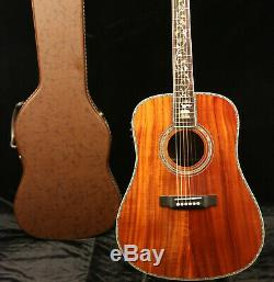 41in Full Koa Acoustic Electric Guitar Fishman EQ Abalone Inlay Flower