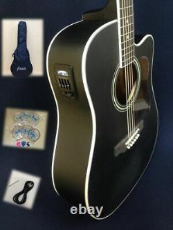 4/4 Haze Dreadnought Electric-Acoustic Guitar, Black Matt+Free Gig Gag 650CEQMBK