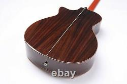 916 Acoustic Electric Guitar Abalone Inlay Ebony Fretboard 3 Electronic Pickups