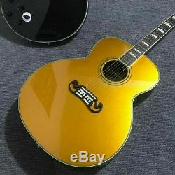 Electric Acoustic Guitar Gold Solid Spruce Top Rosewood Fretboard BackSide