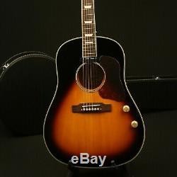 Electric Acoustic Guitar Solid Spruce Top Bone Nut &Saddles Vintage Sunburst
