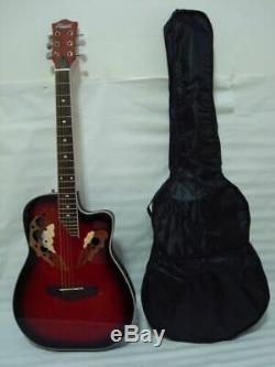 Free Gig Bag 6 string Acoustic Electric Guitar, Roundback, Redburst