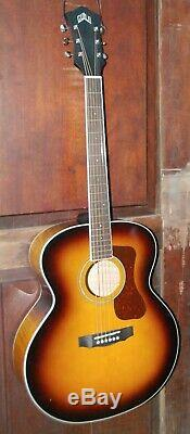 Guild F-250E Deluxe Sunburst Acoustic Electric Flamed Maple Jumbo Guitar withCase