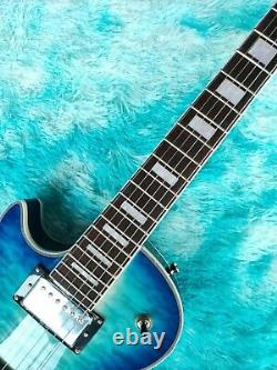 Guitar Factory Custom Electric Guitar Left Hand Blue Tiger Pattern Fast shipping