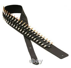 Guitar Strap. 223 Caliber Nickel Copper Bullet Leather Acoustic Electric Bass