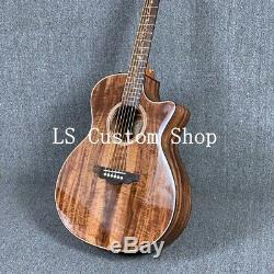 Handmade 39 Cutway Top Quality Full Koa Top&backside Electric Acoustic Guitar