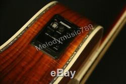 Handmade Electric Acoustic Guitar Full Koa Abalone Inlay one Nut&Saddles