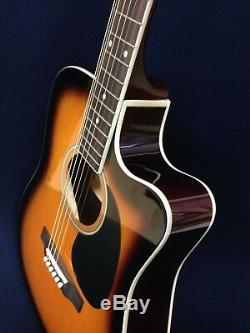 Haze F-631BCEQ/BS Thin-Body Electric-Acoustic Guitar+Free gig bag, Extra Strings