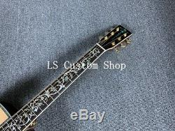High Quality Solid Top Electric Acoustic Guitar Abalone Inlay Rosewood Pickguard