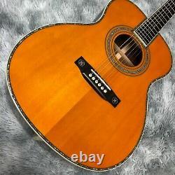 High quality solid wood 40 inch OM42 model folk electric acoustic guitar
