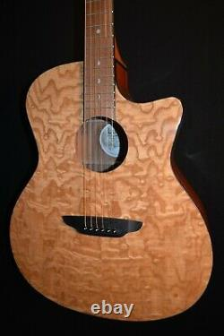 Luna Gypsy Quilt Ash Gloss Natural Acoustic ELECTRIC Guitar Free Shipping