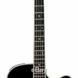 New Takamine EF341SC Dreadnought Acoustic Electric Guitar with Hard Case, Black