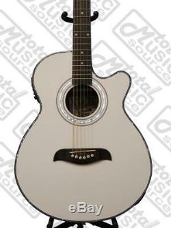 Oscar Schmidt Acoustic/Electric Guitar, Spruce Top, WT92 Preamp, White, OG10CEWH