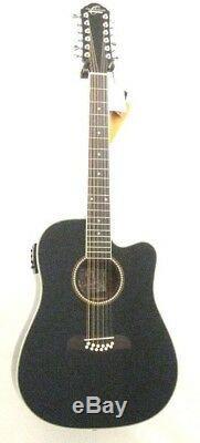 Oscar Schmidt OD312CEB-A Guitar Black 12 String Acoustic Electric Spruce Top