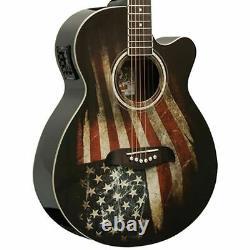 Oscar Schmidt OG10CEFLAG Acoustic Electric Guitar, USA American Flag Graphic