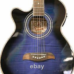 Oscar Schmidt OG10CEFTBLLH Left-Handed Acoustic Electric Guitar, Trans Blue