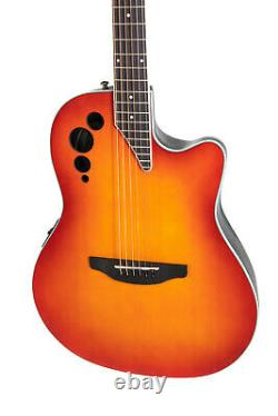 Ovation Applause Acoustic Electric Guitar Super Shallow, Honeyburst Satin