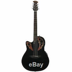 Ovation Celebrity Elite Mid Depth, Lefty Acoustic Electric Guitar, Black