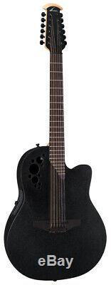 Ovation Elite TX 2058TX-5 12-String Acoustic-Electric Guitar Black with Case