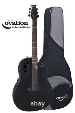 Ovation Elite TX 2078TX-5 Contour-Bowl Acoustic-Electric Guitar Black with Case