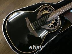 Ovation USA 1758 Elite Series 12 Strings Black Electric Acoustic Guitar, v0606