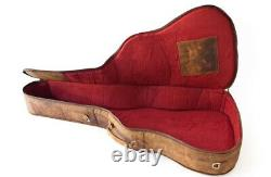 Tan brown genuine leather Guitar case gig bag acoustic electric guitar customize