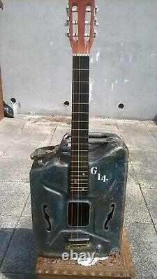 UNIQUE VINTAGE WW2 Jerry can Hand made Six String Acoustic Electric Guitar