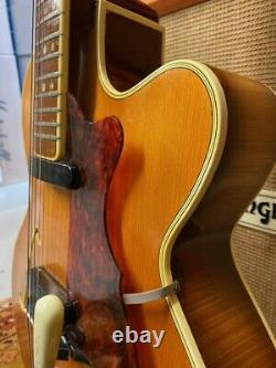 Vintage 1959 Hofner President Natural Electric Acoustic Guitar with Gibson Vibrola