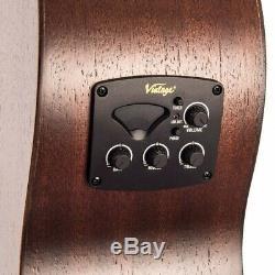 Vintage VE880WK'Statesboro' Parlour Electro-Acoustic Guitar Whisky Sour
